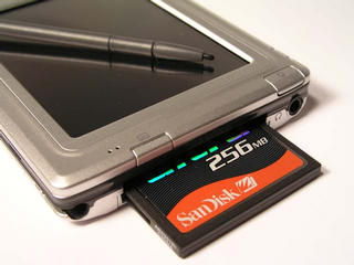 Compact Flash slot, with memory card