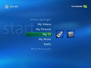Media Center main menu