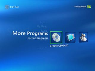 Media Center CD/DVD writing menu